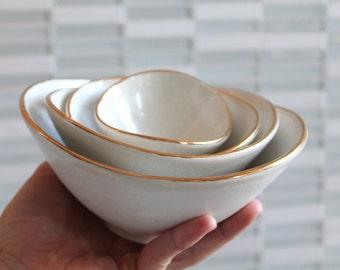 Mini Nesting Bowls - White and Gold - set of 4