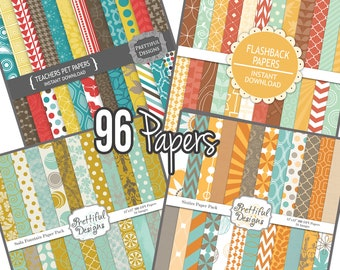 Retro Polka Dot and Chevron Digital Paper Combo Pack 96 Papers