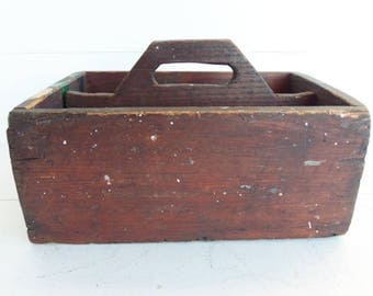 Vintage Wooden Divided Tote, Wooden Storage Crate, Farmhouse Decor, Primitive Box