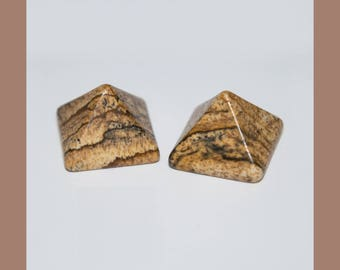 PICTURE JASPER (33446) * * * (Pair - 2 Gems) Pyramid Cut Cabs 14mm Picture Jasper - Flat Backed - Cab / Cabochons