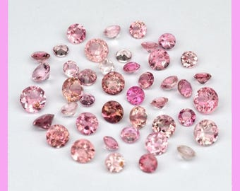 TOURMALINE (33861)  * * * * INTENSE!  PARCEL ( 43 Gems ) Strong Pink 1.5 to 2.7mm Tourmaline - Faceted
