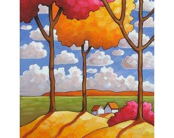 Autumn Fields Landscape, Scenic Prairie Valley Blue Sky Clouds Fall Trees Color, 5x7 Folk Art Print Home Decor Artwork Gift by Cathy Horvath