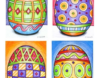 Easter Egg Mini Art Prints, Set of 4 Seasonal Giclee Archival Artwork, Festive Spring Art Decor Collection, Wall Art by Cathy Horvath