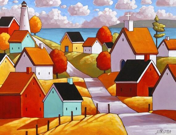 Town Ocean Road 8x11 Folk Art Print Lighthouse Coastal