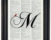 Custom Initial With Cardinal Cardinal Art Print Dictionary HHP Original Design Personalized Art Wedding Gift