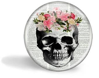 Skull With Flowers Magnet Skull With Flowers Mirror Skull With Flowers Button Pin  Anatomy Gift HHP Original Gift Under 5