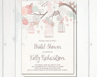 Bridal Shower Invitation, Birdcage Invitation, Printable, Vintage Birdcage Invitation, Pink Floral Bridal Shower, Birds, Birds Bridal Shower