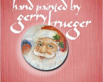 Hand painted MOP button - 2016Santa -  Special Edition
