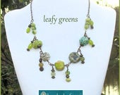 Chunky Green Charm Necklace, Green Jewelry, Beaded Necklace, Charm Statement Necklace, Funky Jewelry, Copper Chain Necklace, Leaf Green