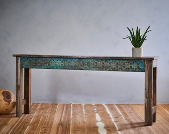 Reclaimed Console Table Salvaged Indian Architectural Elements Jodhpur Blue Carved Wood Media Stand Boho Furniture Moroccan Decor Turkish