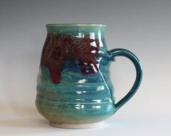 Twisted Coffee Mug, 16 oz, unique coffee mug, handmade ceramic cup, handthrown mug, stoneware mug, pottery mug, ceramics and pottery