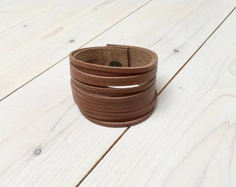 """Leather cuff bracelet 1-3/8"""" inch genuine leather cognac brown sliced leather wide for Men and women"""