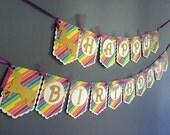 Rainbow Unicorn Birthday Banner - Gold Sparkle Unicorn Horse - Rainbow Birthday - Gold White Purple