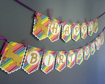 Rainbow Unicorn Birthday Banner - Gold Sparkle Unicorn Horse - Rainbow Birthday - Gold White Purple