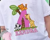 GIRL Safari Animals Birthday Shirt - lion giraffe tiger personalized name age  - Zoo Animal Shirt - zoo shirt - Birthday Party