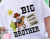 SALE ENDS MAY17 Big Brother Shirt - Big Brother Cowboy Shirt - Personalized Wanted Poster - Wild West Shirt - Cowboy Big Brother Shirt  Hors