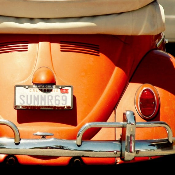 Canvas Wrap, New In Shop, 12x12, Ready To Hang, Photography Wall Decor, Fine Art Photo, Orange VW, Summer Surf