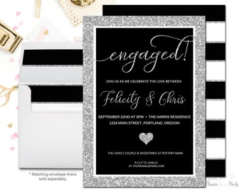 Black and Silver Engagement Party Invitation, Couples Engagement Invitation, Bridal Invite, Couples Engagement Invite, Black and White