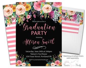 Floral Graduation Party Invitation - Floral Graduation Invitation - Graduation Invite - Grad Invitation - Grad Invite - Flower Invitation