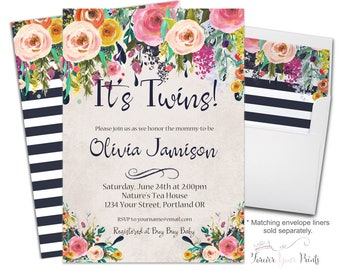 High Quality Twin Baby Shower Invitation | Etsy