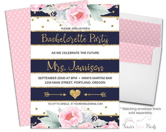 FLORAL Bachelorette Party Invitation, Bachelorette Party Invite, Floral Engagement Invite, Engagement Invitation, Bride-To-Be, Pink Peonies