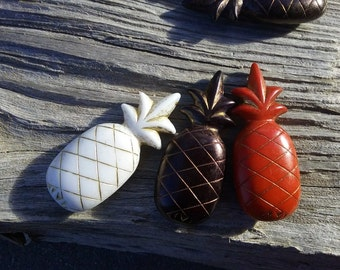 Pineapple Pendant, Vintage Lucite or Resin, 2.75x1.5 Inches, Rusty Red, Creamy White, Black, Priced per Piece