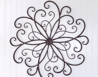 Black Wrought Iron Wall Decor flower wrought iron scroll wall art graywhiteyellow wall
