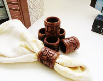 Six Boho Chic Carved Wood Napkins Rings, Floral Wood Carved Napkin Rings