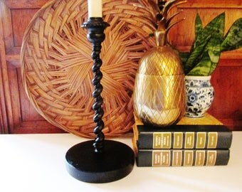 Virginia Metalcrafters Black Iron Lamp, Twisted Black Metal Lamp, 1994, Candlestick Lamp, Williamsburg Decor, Entry Table Decor, Farmhouse