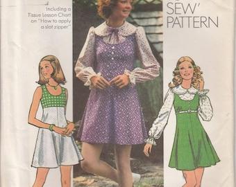 Mini Dress Pattern 1970s Mod Mini Jumper 1972 Misses Size 10 Uncut Simplicity 5424