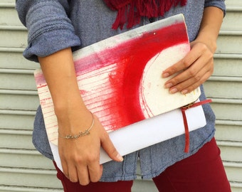 Large Hand Painted Foldover CLUTCH bag // Red and White // White Vegan Leather // One of A Kind, Unique Fine Art Purse // Wearable Art