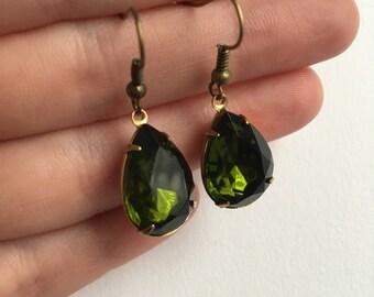 Daek Green Olive Glass Stone Brass Earrrings