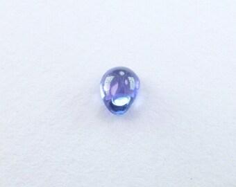 TANZANITE. Natural.  Blue / Purplish Blue Smooth Cabochon. Bright and Clean. Pear Shape. 1 pc. .59 cts.  4x6 mm (TZ204)