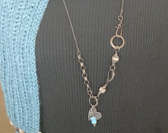 Necklace, Textured Bronze Heart with Turquoise Lampwork Bead Dangle, Metal Clay Pendant and Mixed Metal Hand Forged Chain, Long Necklace