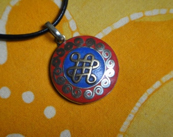 Tibetan Eternal Knot Pendant Lapis and Red Coral Nepalese Inlaid Stone Necklace Tibetan Jewelry Infinity Symbol