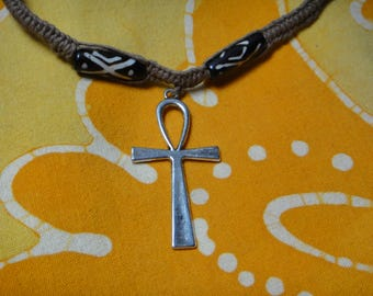 Ankh Charm Batik Bone Bead Hemp Necklace Ancient Egyptian Pendant Jewelry for Him and Her