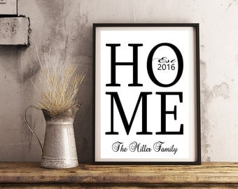 Personalized wedding /  Engagement Gift - Print 8x10 HOME