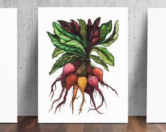Baby Beets Dirty Garden Art Print from original Watercolor Pen and Ink by Catherine Dolch