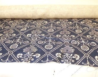 Vintage 1970s Blue and White GP&J Baker Cotton Textile … Vincennes Pattern, New Old Stock, English Fabric, Screenprint , Arts and Crafts