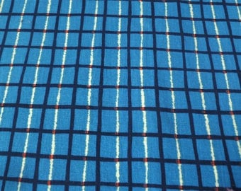 Vintage Scandinavian Remnant ... Checked Blue Danish Yardage, 2 Yards Cotton Blend Textile, Checked Grid Fabric, Striped, Checkered Material