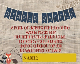 Camping Shower Diaper Raffle Tickets - DIY Printables - INSTANT DOWNLOAD