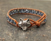 Blue Fox Bracelet Beaded Leather Fox Jewelry