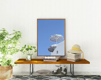 Beach Photography - Santorini Greece Travel Photography - Blue and White Wall Art - Greek Islands Photograph - Summer Umbrella Print - Photo