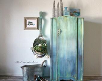 Boho Inspired Multi Colored Rustic Mini Wardrobe / Farmhouse / Cottage/ Coat Closet / Antique Cabinet