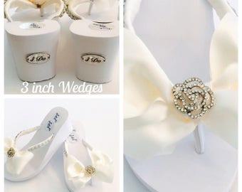 """Bridal FLip Flops/3"""" WEDGES Wedding Flip Flops.Wedding Shoes.Bridal Shoes.Rhinestone Bridal Shoes.I Do Shoes Wedding Shoes."""
