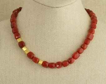 Carnelian and Gold Necklace Red Vermeil Holiday