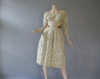 1950s Cream  Brocade Formal - 50s Lord and Taylor - New Years Cocktail Dress