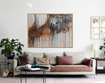 Large wall art abstract painting,original painting,modean ,Acrylic abstract painting,canvas art,brown,blue