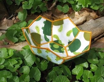Twice turtles reversible fabric bowl