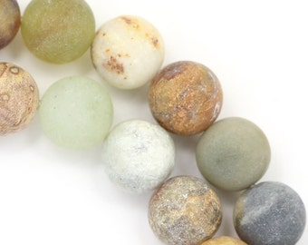 "Flower ""Jade"" Serpentine Beads - Matte Finish - 10mm Round"